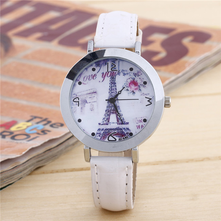 white dress leather watch