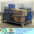 Manufacturer wholesale portable easy assemble warehouse transport baskets industrial stackable storage wire mesh containers