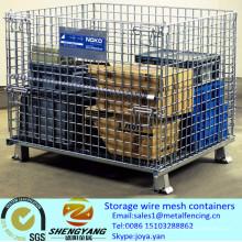 Fabricant en gros portable facile assembler des paniers de transport d'entrepôt industrielle empilable stockage treillis métallique conteneurs