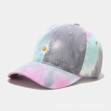 New Young Flower Embroidery Baseball Cap Women Tide Wash Tie-Dye Cap Summer Student Couple Sunshade Hat