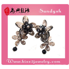 handmade wholesale flower fashion crystal fancy big beautiful long drop earrings for party
