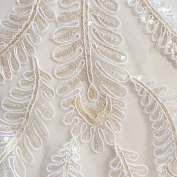 Leaf white Rope Embroidery lace flower Gold line