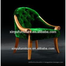 Chaise canapé rond en tissu vert luxueux à rayures XY2479