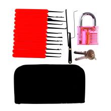 Красный прозрачный практика замок с холщовым мешком 15шт инструменты Взлом Чехол Красный кремния (комбинированный 6-2)