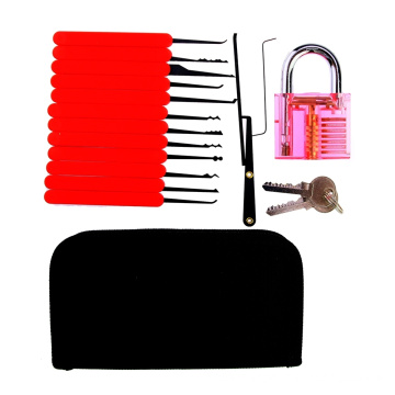 Red Transparent Practice Padlock with Canvas Bag 15PCS Lockpicking Tools Red Silicon Case (Combo 6-2)