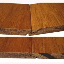 Plancher de bambou tissé solide tissé de T & G carbonisé par Handscraped