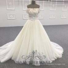 Kundenspezifische weiße Blumen-Prinzessin Long Formal Wear weg vom Schulter-Abschluss-Abend-Kleid
