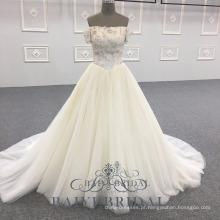 Princesa branca da flor feita sob encomenda Formal longa do desgaste fora do vestido de noite da graduação do ombro