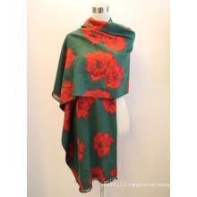Lady Fashion Viscose Woven Jacquard Fringed Shawl (YKY4410)