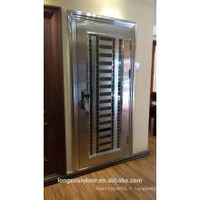 Porte extérieure de sécurité, conception de porte en acier inoxydable, porte extérieure moderne en acier inoxydable