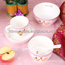 Los niños respetuosos del medio ambiente la venta caliente diseño moderno de dibujos animados de sopa tazón de fuente de la taza de frutas redondas placas de los productos más vendidos