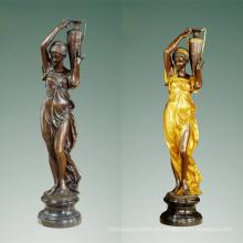 Weibliche Bronze Garten Skulptur Klassische Dame Art Messing Statue TPE-477/516