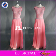 ED Beaded Pink Bead Work Cap Sleeve Ankle Length Chiffon Zipper Back Long Prom Dress