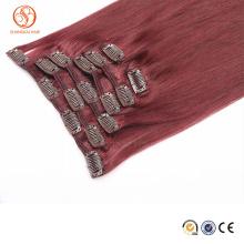 Most fashional fast shipping virgin cheap brazilian human hair 99j clip hair extension