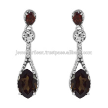 Smoky Quartz And Garnet Gemstone 925 Sterling Silver Earring