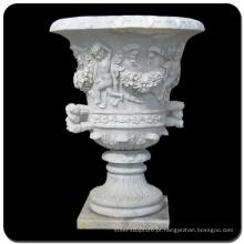 Escultura de pedra de decoração do jardim bebê vaso de flores de pedra de mármore
