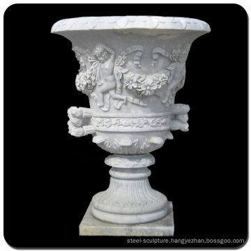 Garden decoration stone carving baby marble stone flower pot