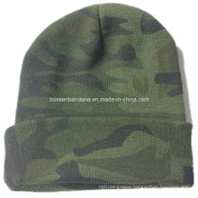 OEM Produce Camouglage Logo Printed Knitted Acrylic Customized Beanie Sports Cap