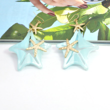 Ocean series hanging acrylic sea star ear jewelry for girl party stainless steel starfish earrings