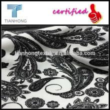 100% tela de la impresión de hilados teñidos de algodón y Spandex telas impresas/blanco y negro impresión de telas estampadas de la gata