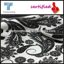 100%cotton print yarn dyed fabric/Spandex slub printed fabrics/Black and white printing design fabrics