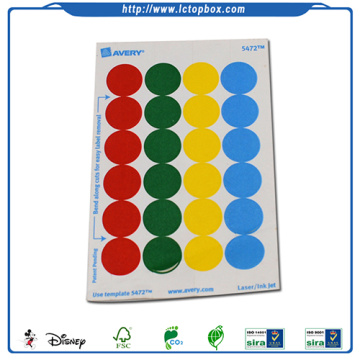 Circle Color Code Label with Adhesive Backing