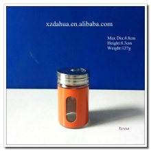 High Quality Glass Spice Jar with Stainless Steel Coating