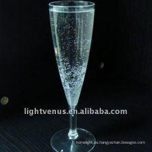 Cristal de champaña de plástico transparente
