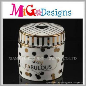 Wholoesalecustom cor artesanal caixa de anel de jóias de cerâmica