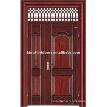 Двойная дверь лист дизайн стали безопасности дверь с окно верхнего KKDFB-8010 из Китай Top 10 марки