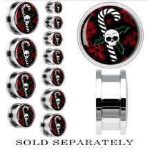 Steel Christmas Skull Holly Candy Cane Screw Fit Plug Expéditeur d'oreille de noel