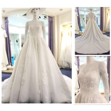 Wholesale New Fashion White Embroidery Dress Factory Long Sleeve Sequines Puffy Wedding Ball Gowns Bridal Dresses 2016 A215