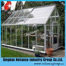 Ultra Clear Float Glas / Low Eisen Glas für Gewächshaus verwendet