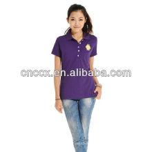 Botão de algodão das mulheres 13PT1036 moda nos camisas polo
