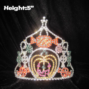 Custom Crystal Pumpkin Pageant Crowns With Candy Cane