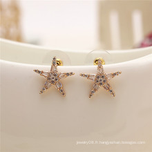 Simple Fashion Shiny Handmade Greek Jewelry accessoires pentagramme cz stud earring