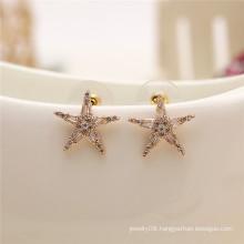 Simple Fashion Shiny Handmade Greek Jewelry accessories pentagram cz stud earring