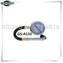 Dual-head chuck Dial Type Tire Pressure Gauge with flexible hose