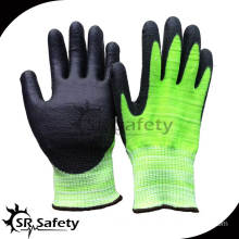 SRSAFETY 13G Nylon+glassfibre+UHMWPE liner coated Black PU on palm,cut resistant gloves