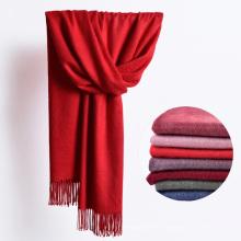 2017 invierno cálido bufanda de lana larga mujeres llano sólido bufanda de lana con borlas