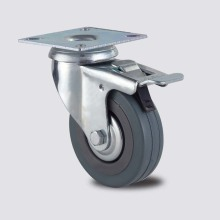 Light Duty Series Double Brake Type Gery Rubber Caster