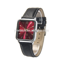 custom leather strap alloy case square watch for men
