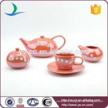 Ceramic oval coffee set tea set with diamond