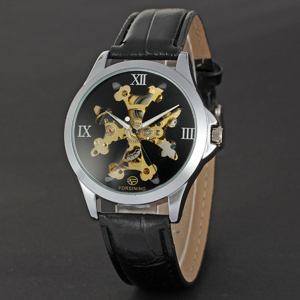 winner golden bezel with skeleton dial watch leather band mechanical man watch.