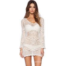 Wholesale bikini cover up summer kinted lace crochet beach women wear