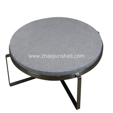 China Gold Supplier for Luxury  Mother of Pearl Furniture CANOSA Chinese Fresh Water Shell Covered Coffee Table with Sliver Stainless Steel supply to Ireland Suppliers
