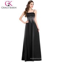 Grace Karin Women Stock Spaghetti Straps Satin Long Black Evening Gown CL4974-1#