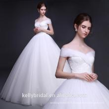 Alibaba Hot Selling Princesse Soft Tulle Mariage Off Shoulder Robe de mariée Robe de mariée Applique en dentelle