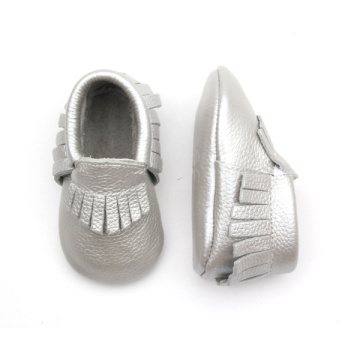 Подлинная кожа Sliver Baby Moccasins Shoes