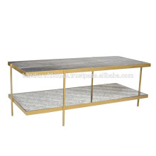 Industrial Marble and Metal 2 Tier Console table